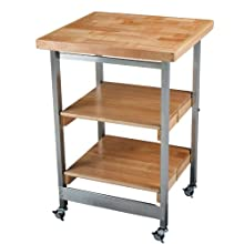 Oasis Concepts Stainless Steel/Wood Folding Kitchen Island, Natural