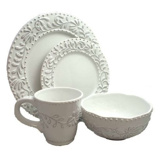 Jay Imports Bianca 16-piece Leaf White Dinnerware Dining Tableware Set With Service For 4, Includes Dinner Plate, Salad Plate, Bowl, And Mug 0