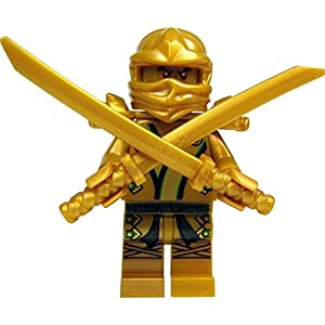 LEGO Ninjago minifigure Lloyd as Golden Ninja with 2 golden swords / katanas