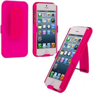 =>>  NOI Rubberized Snap On Hot Pink Swivel Slide Belt Clip Rotate Holster Case for Iphone 5 5s