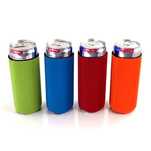 Slim Can Beer or Energy Drink Insulator Holder 12 oz Huggie Assorted Multi Pack, 4 Pack by Winking Owl (Magnetic Can Koozie compare prices)