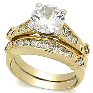 2 Carat AAA Grade CZ Gold Tone Engagement Wedding Ring Set