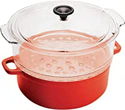 World Cuisine 4 quart red enamel cast-iron steamer with a tempered glass colander and a tempered glass lid