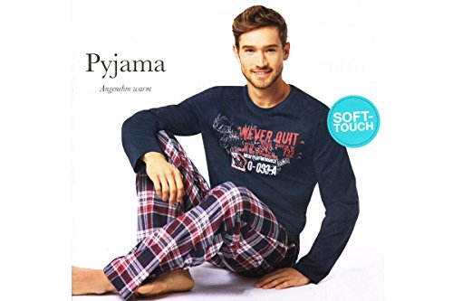 Herren Flanell Pyjama Schlafanzug Nachtwäsche Oberteil + Hose S M L XL XXL (XL 56/58, Blau)