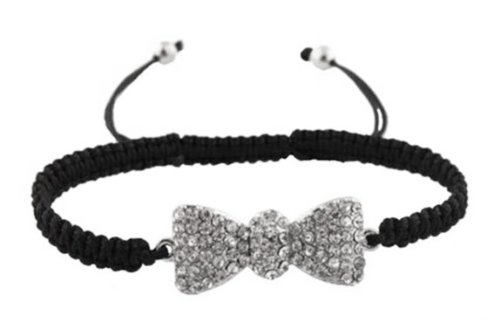 Black  Silver Iced Out Bow Tie Shamballah Lace