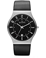 Skagen Black Leather and Steel Watch