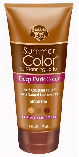 Banana Boat Summer Color Self-Tanning Lotion, Deep Dark Color, For All Skin Tones, 6-Ounce Tubes (Pack of 3)