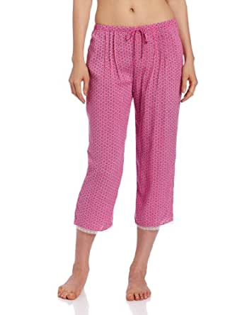 Kensie Women's Capri Pajama Pant, Blush Dot, Small