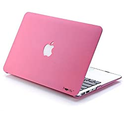 Heartly Transparent MacBook Flip Thin Hard Shell Bumper Case Cover With Apple Cut Logo For MacBook Air 13'' inch (Model: A1369 / A1466) - Cute Pink