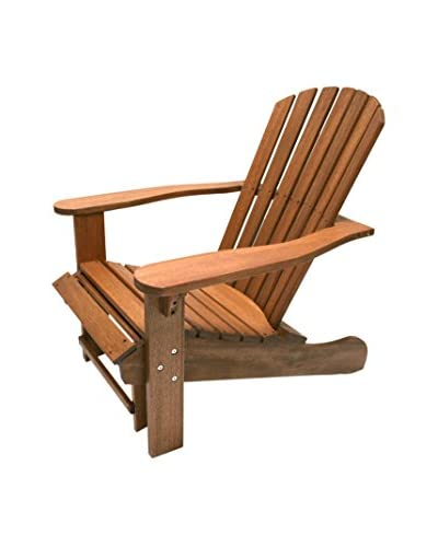 Outdoor Interiors Eucalyptus Adirondack Chair with Built-in Sliding Ottoman, Brown