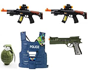 Velocity Toys Battery Operated Electric Powered AK-47 Style Lights and Sounds Battery Operated Machine Gun Toy Gun For Kids, Army Helmet at Sears.com