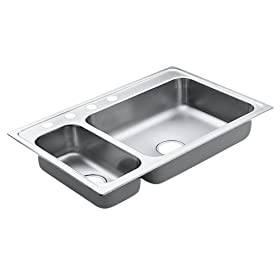 Moen 22823 Excalibur 33-By-22-Inch 4-Hole Double Bowl Kitchen Sink, Satin