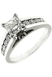 1.40 Ct White Gold Princess Cut Diamond Engagement Ring 14 Kt