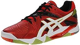 ASICS Men\'s Gel-Cyber Sensei Volleyball Shoe, Chery Tomato/White/Black, 8 M US