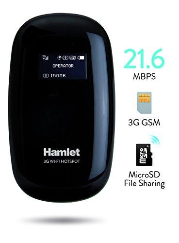 Hamlet HHTSPT3GM21 Router HotSpot 3G GSM con slot Sim card e batteria ricaricabile