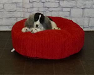 "Zippy Round Bean Bag Pet Dog Bed - 30"" diameter - Red Jumbo Cord Fabric - Beanbags from Zippy"