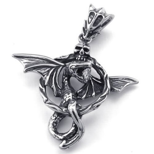KONOV Jewelry Mens Gothic Snake Dragon Stainless Steel Pendant Necklace, Silver, 20″ inch Chain