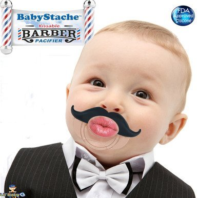 BabyStache® Kissable Baby Pacifier. Kissable Barber Black