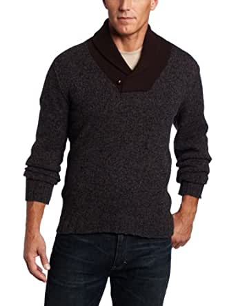 Benson Men's Tweed Cowl Neck Sweater, Charcoal, Small