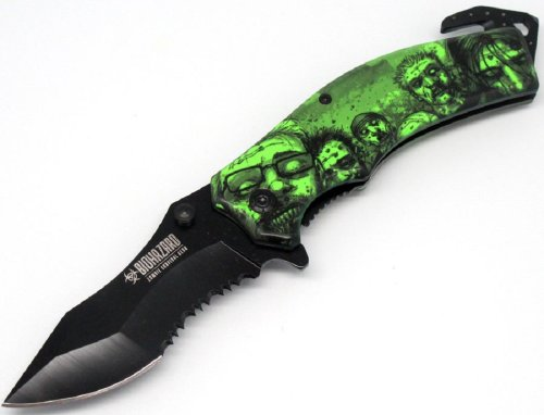 "ZOMBIE SURVIVAL GEAR ""THE HORDE"" RESCUE FOLDING KNIFE- GREEN"