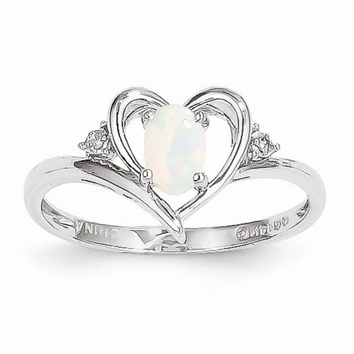 Size - 8 - Solid 14K White Gold Genuine Opal Diamond Engagement Wedding Ring (.01 Cttw.) (2Mm)