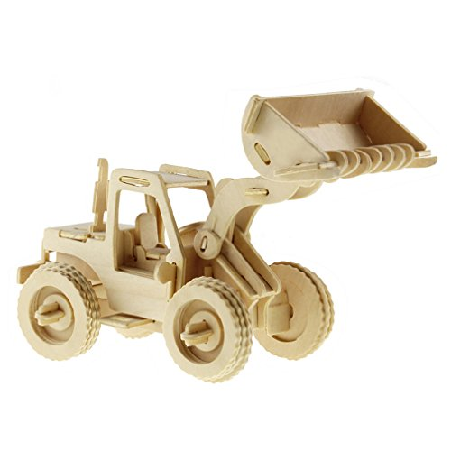 MICHLEY 1pc 3D Wooden Construction Jigsw Puzzle Kid Educational Woodcraft DIY Kit Toy Simulation Models Bulldozer (Bulldozer Model compare prices)