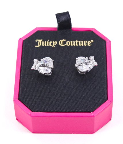 Juicy Couture Silver Faceted Heart Banner Stud Earrings