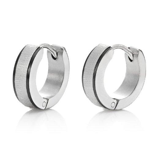 Stunning Silver Black Stainless Steel Mens Hoop Earrings