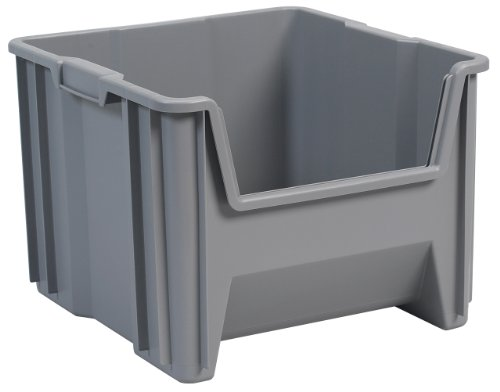 Akro-Mils 13018 Stak-N-Store Stacking Hopper Front Plastic Storage Bin, Grey, Case of 2 (Corner Storage Bin compare prices)