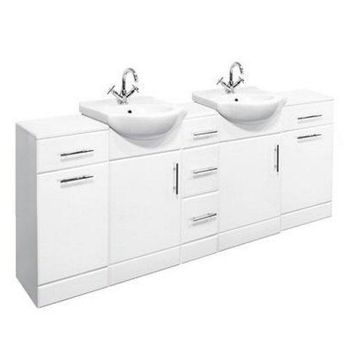 1950mm Double Bathroom Set 450mm Vanity Unit & Storage