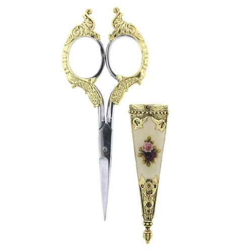 1928 Jewelry Small Antique Floral Rose Decal High Quality Embellished Scissors - Made in the USA! 0