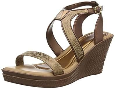 Grendha Allure Wedge femmes Flip Flops / Sandals - Bronze Snake - SIZE EU 37