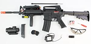 Full Auto/Semi Auto Shoots Extremely Fast and Hard 350-FPS 1:1 M16 / M4 Red Dot Version Airsoft Rifle Airsoft Gun, with Laser, Red Dot Scope, Foregrip, Rechargeable, safety glasses, gun sling