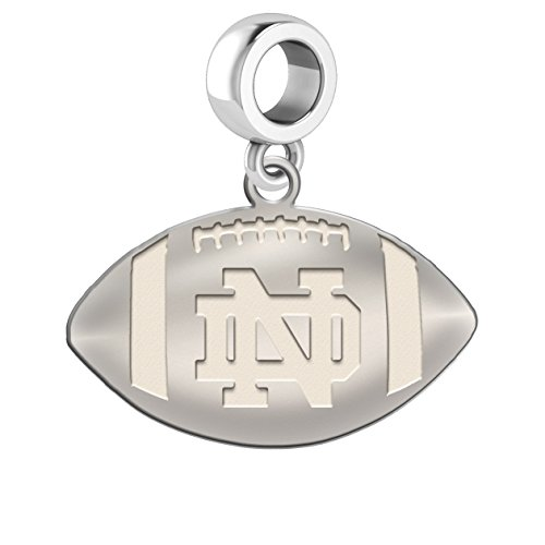 Notre Dame Fighting Irish Sterling Silver Football Cut Out Drop Charm Fits All European Style Charm Bracelets