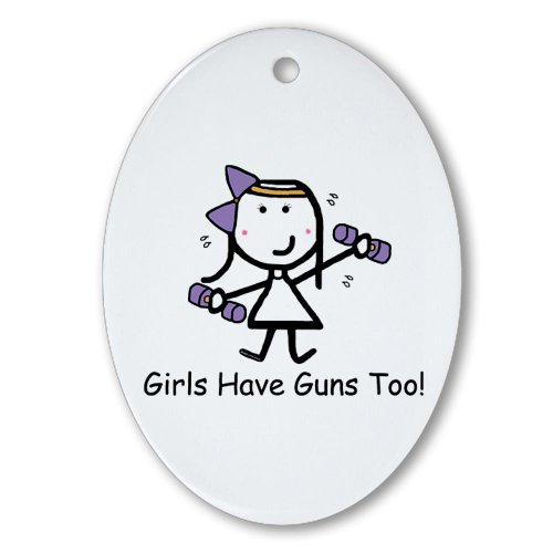 CafePress - Exercise - Girls Guns Ornament (Oval) - Oval Holiday Christmas Ornament