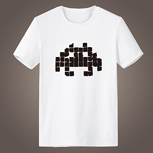 Generic Family Computer/Famicom Space Invaders Two-dimensional Pixel Alien Printing Short Sleeve High Quality O-Neck T Shirt for Men (Black, XL)