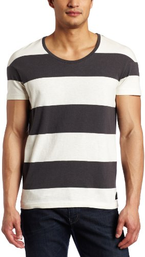 J.C. Rags Mens Big Block Stripe Tee, Chalk, Medium