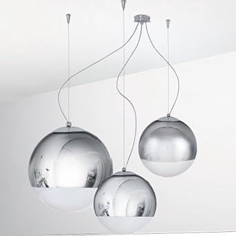 Lampadario sospensione 3 luci cromo design moderno for Lampade interni design