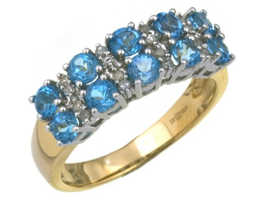 Eternity Ring, 9ct Yellow Gold Diamond and Blue Topaz Ring, Claw Set