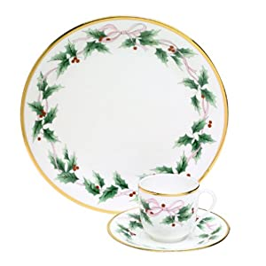 Mikasa Bone China Ribbon Holly 3-Piece Place Setting, Service for 1
