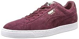 PUMA Men\'s Suede Classic + Sneaker, Zinfandel/White, 4 M US