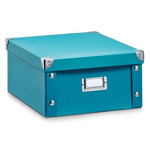Zeller-17842-Aufbewahrungsbox-Pappe-petrol