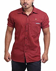 PP Shirts Men Cotton Casual Shirts ( Maroon S )