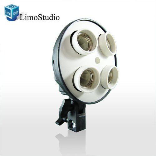 Limostudio High Quality 4 Socket Photo Bulb Adapter - Converts 1 Socket Into 4 - Use For Standard Socket Flourescent Bulbs, Agg882-A