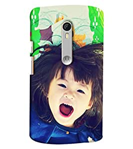 Blue Throat Little Girl Laughing Hard Plastic Printed Back Cover/Case For Moto X Style