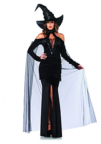Sultry Sorceress,velvet Dress W/attached Cape,witch Hat -85242