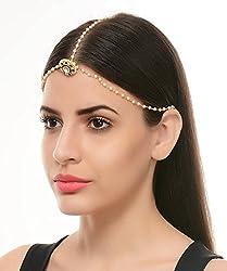 Vihana Arts White/Golden Non-Precious Metal Strand Hair Accessory/Bandhi For Women