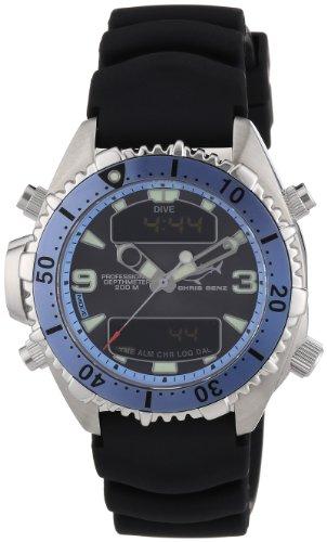 Chris Benz - CB-D-LIGHTBLUE-KB - Montre Mixte - Quartz Digitale - Bracelet Caoutchouc Noir