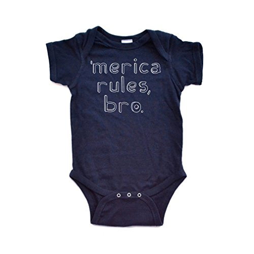 [Apericots Merica Rules Bro Funny Short Sleeve Baby Bodysuit] (Trailer Trash Outfits)