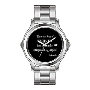 FYD Watch Man's Fashion Stainless Steel Band Watch Vintage Aristotle Inequality Equality Quote Wrist Watch